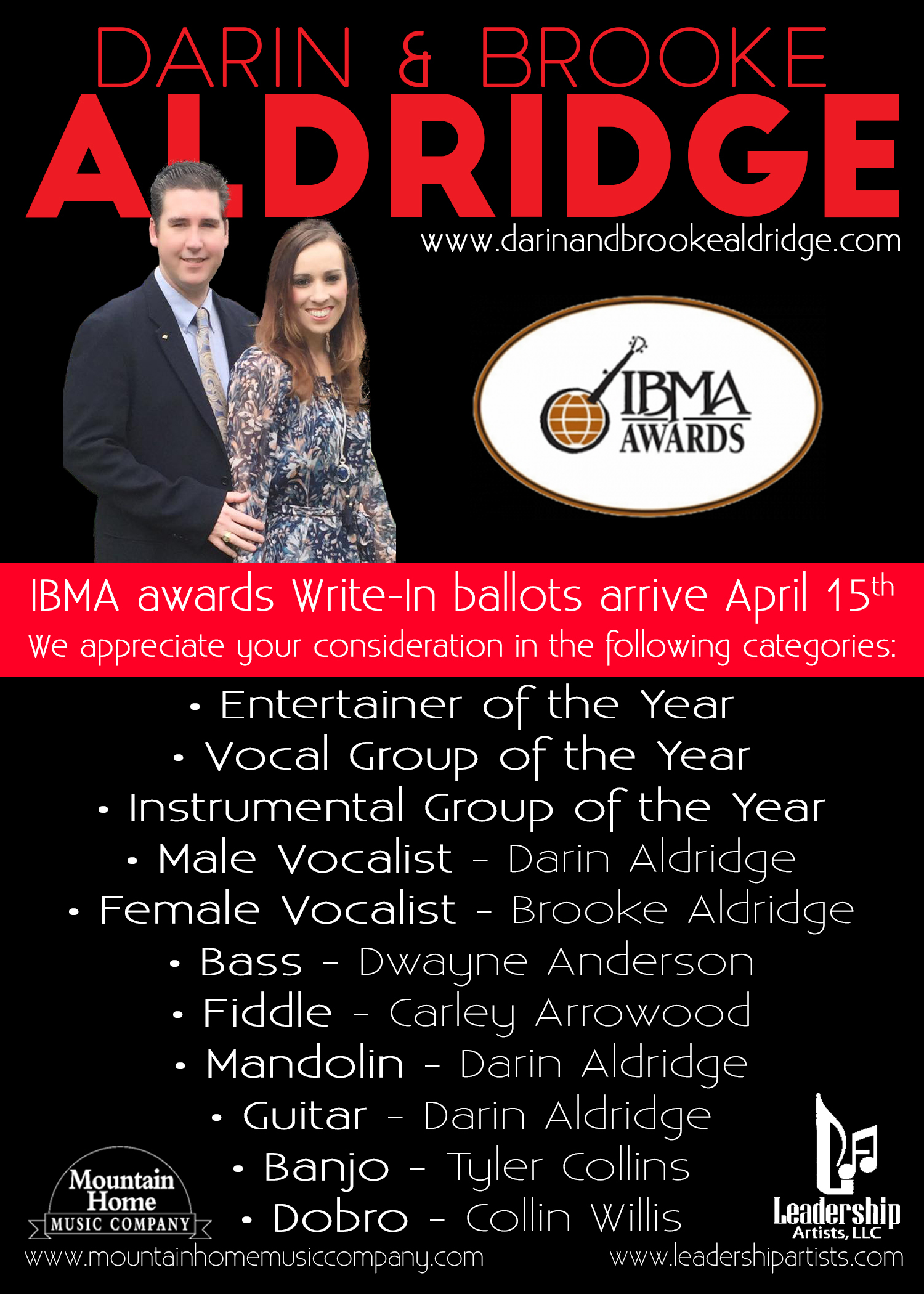 IBMA Awards Write-In Ballots Arrive April 15th & We Appreciate Your Consideration!